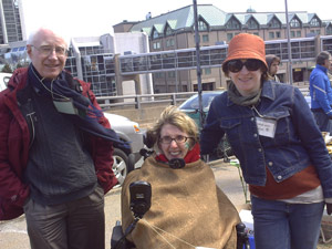 Jen Powley, centre, at the Cogswell Interchange Demo on Earth Day